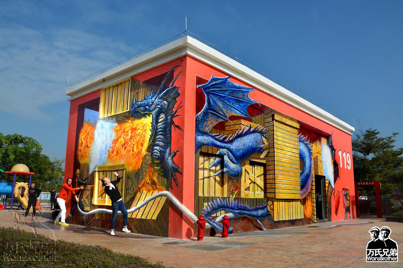 巨幅3D壁画《灭火英雄》